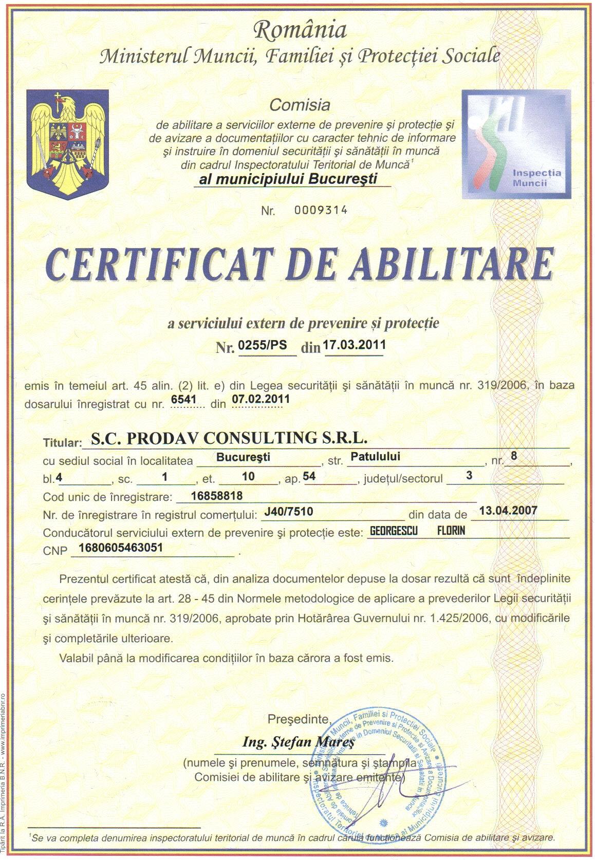 CERTIFICAT ABILITARE SSM PRODAV CONSULTING - SERVICIU EXTERN DE PREVENIRE SI PROTECTIE