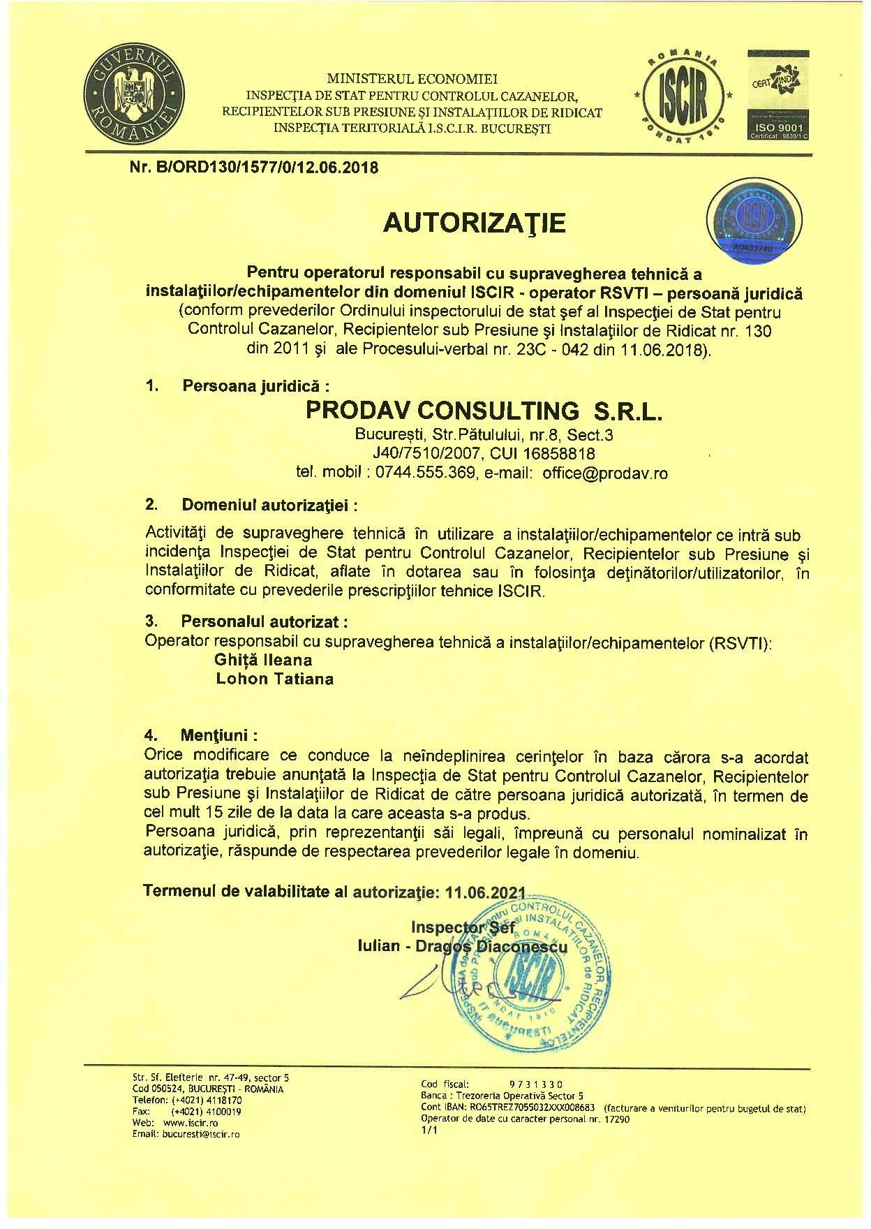 PRODAV CONSULTING - AUTORIZATIE OPERATOR RSVTI