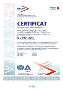 CERTIFICARE ISO 9001 PRODAV CONSULTING